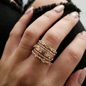 Gold Etoile Eternity Stackable Ring 5Pcs/Set
